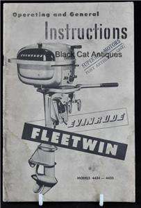 Boat Owners Manual Evinrude 7.5 HP Fleetwin #4434 4435