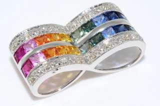 1,500 2.15CT MULTI COLORED SAPPHIRE & DIAMOND PENDANT