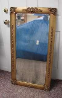 Antique Gold Wood Frame Mirror Glass Floral Design Ornate Victorian