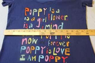 NWT 80839 COACH Poppy Girl Navy Blue T Shirt Medium