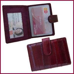 Genuine Eel Skin Leather Card Case Wallet WINE COLOR
