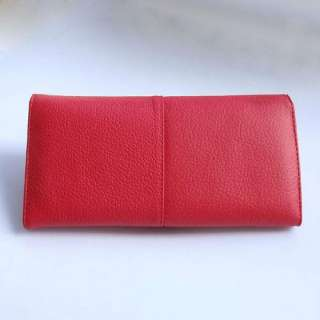 Ladys Red Genuine Leather Clutch Wallet Purse ID Card