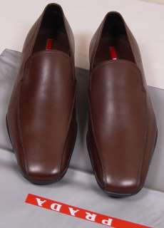 PRADA SPORT SHOES $525 BROWN LOGO VAMP ICONIC SOLE SOFTCALF LOAFER 8