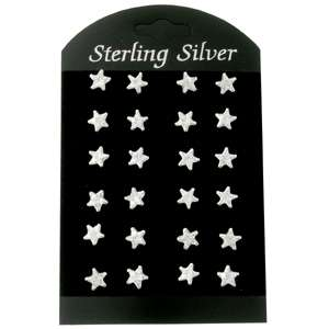 12PAIRS WHOLESALE LOT SILVER STAR STUD EARRING FS