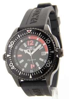 Mens Black Rubber Strap Date Internal Rotating Bezel Swiss Watch 7358