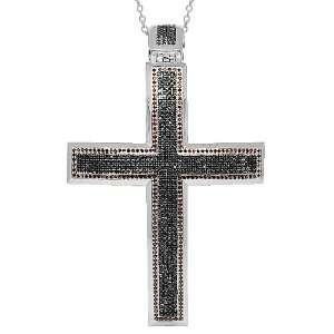 10K White Gold Mens Diamond Cross Pendant with Black and Red Diamonds