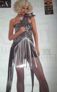 New Lady Gaga Black & Silver Star Dress size Med 8 10