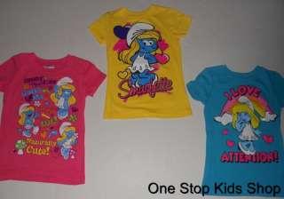 Girls 4 5 6 6X 7 8 10 12 14 16 Short Sleeve SHIRT Top THE SMURFS Smurf
