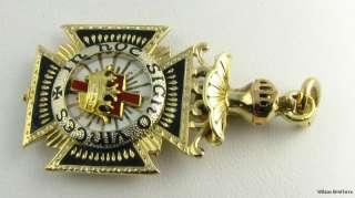 Knights Templar Royal Arch Blue Lodge Masonic Folding Fob 14k Gold