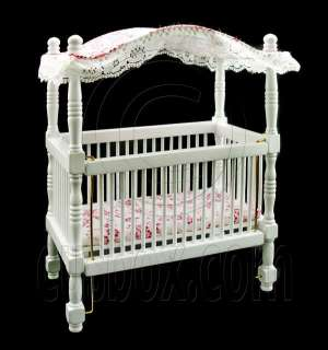 White Nursery Baby Room Canopy Crib Dollhouse Furniture