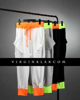 vb HOMME Mens Fluoro Cuff Baggy Skinny Sweat Pants 3CD