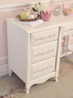 Shabby French Cottage Chic White Writing Desk Table 4 Drawers Rose