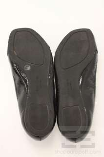 Kate Spade Black Patent Leather Bow Peep Toe Flats Size 8