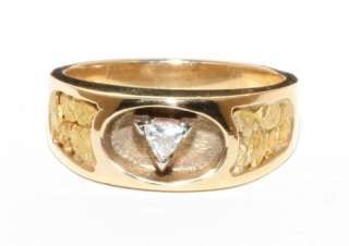 Estate 14K Gold .25ct Trillion Diamond Mans Nugget Ring