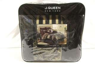 queen new york ravello king comforter set color black retail value $