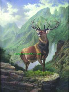 Handmade paintingthe deeris standing at the mountain