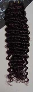 22Remy Hair Weft Curled Wavy Purplish Red #99J,100g