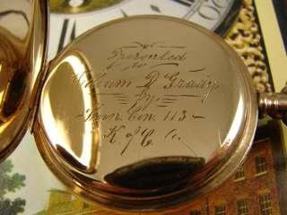 KNIGHTS COLUMBUS 1915 ANTIQUE WALTHAM 645 GOLD FILLED RAILROAD 21j