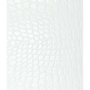 Alligator Faux Leather Vinyl Marshmallow White Fabric