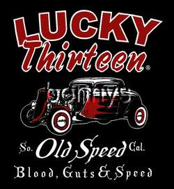 NEW Old Speed Hot Rod Car Work Shirt, Lucky 13, 4XL