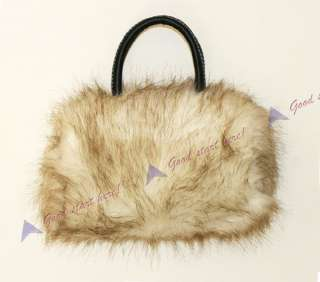New Fashion Women Lady Soft Faux Fur Shoulder Handbag Purse Tote Bag 5