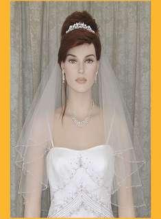 2T White/Ivory Elbow Wedding Bridal Veil Bugle Bead s8