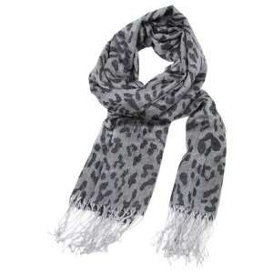 Gray Leopard Print Water Mark Design Pashmina Scarf