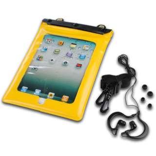 Yellow Waterproof Case Bag Strap Earphones for iPad 1 2