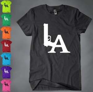 LA Dodgers Gun Logo Tee T Shirt Los Angeles Hollywood Compton Snoop