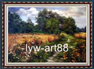 Original Oil painting landscape art Flower Road