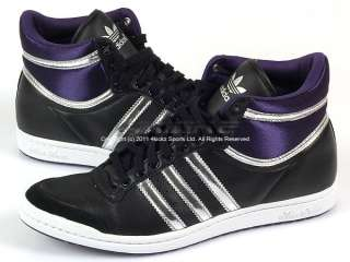 Adidas Top Ten Hi Sleek W Black/Silver/Eggplant Leather Laced Trainers
