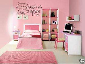 MAGICAL FAIRY DREAMS Girls Bedroom Vinyl Wall Art Decal