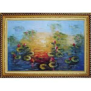 Red Lotus Pond in Sunrise Oil Painting, with Linen Liner