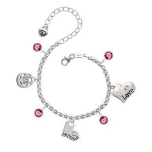 Volleyball and AB Swarovski Crystal Love & Luck Charm Bra Jewelry