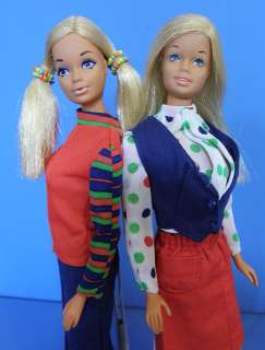 MOD 1972 MALIBU BARBIE & PJ DOLL in UNITED AIRLINES STEWARDESS Outfit