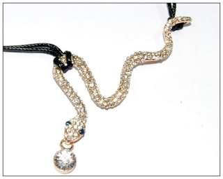 Vintage Snake Crystal Necklace Chain Pendant Gold