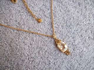 Possibly Vintage CAROLEE Crystal & Gold Tone Pendant Necklace