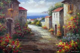 Spanish Village Ocean Seaside Town Flowers Homes Landscape 24X36 Oil