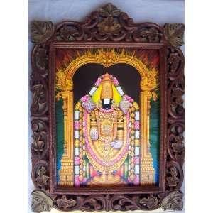 Lord Venkateswara poster painting in wood craft frame
