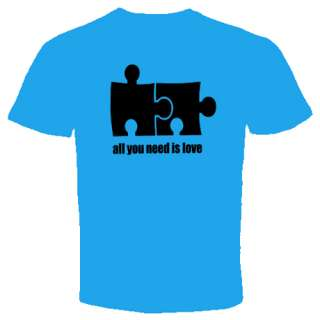 all you need is love t shirt Cool Funny Puzzle S 2XL