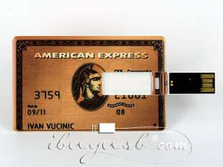 American Express Credit Card 4GB USB Flash Drive Gold