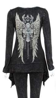 CRYSTAL FAITH CROSS CHAIN ANGEL WINGS TATTOO BLACK SHARKBITE HEM T