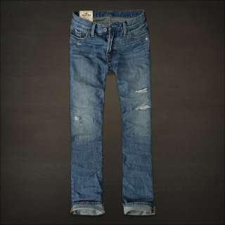 Hollister Huntington Low Rise Slim Straight Destroyed Mens Jeans