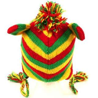 Ear flap Hat Fully Lined Fleece Interior. Animal character Jamaican