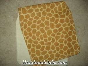 BABY BURP CLOTHS CONTOURED SHOWER GIFT ANIMAL PRINT GIRAFFE