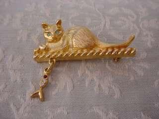Bright Gold Tone Cat Pin Brooch with Fish Dangle & Rhinestones