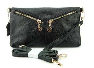 Womens Real Genuine Leather Clutch Bag Mini Handbag Flower Zips Purse