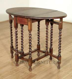 Antique English Solid Oak Jacobean Dropleaf Gateleg Dining Oval Table