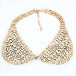 Fashion Unique Gold Tone Rhinestone Collar Choker Bib Necklace