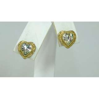 Vtg Dainty Heart Crystal Clear Rhinestone Post Pireced Earrings